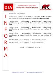 C.T.A. INFORMA CRÉDITO HORARIO CRISTOBAL NIETO, OCTUBRE 2018