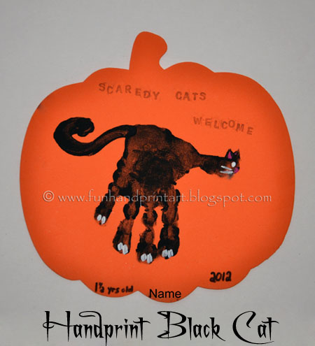 Handprint Black Cat Halloween Craft