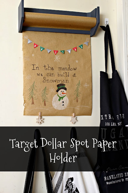 Target Dollar Spot paper holder with kraft paper - www.goldenboysandme.com