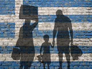 Pic of 3 silhouettes of refugees on blue and white background of Greek flag
