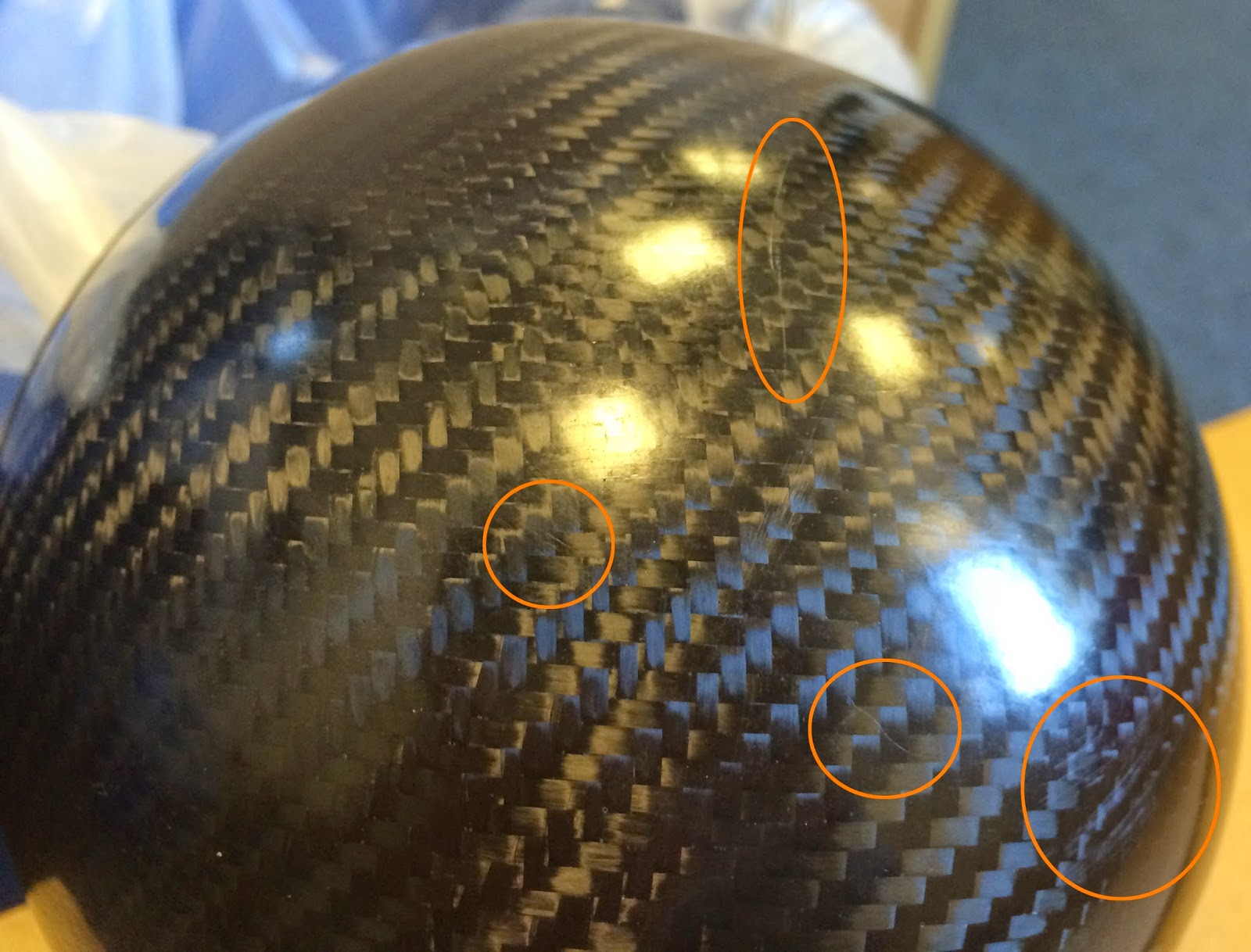 Caterham Carbon Headlight Bowls with highlighted scratches