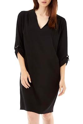 Wallis Black Woven V Neck Tunic Dress