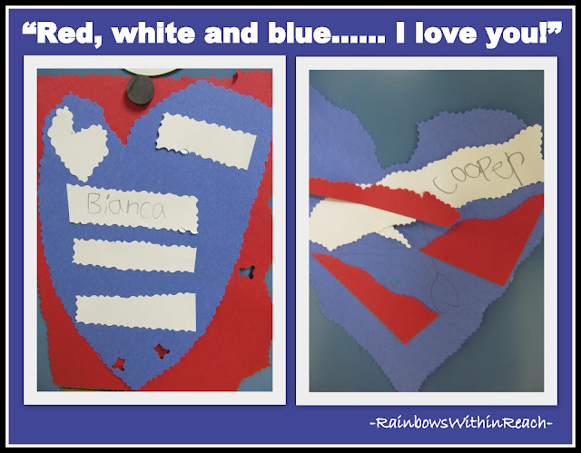 "photo of: Patriotic Hearts in construction paper. First grade 9-11 response to ""Red, White and Blue"" picture book"