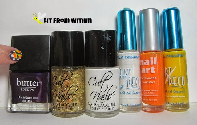 Bottle shot:  Butter London Pitter Patter, Cult Nails Feedback and Tempest, and nail art stripers in white, orange, and yellow.