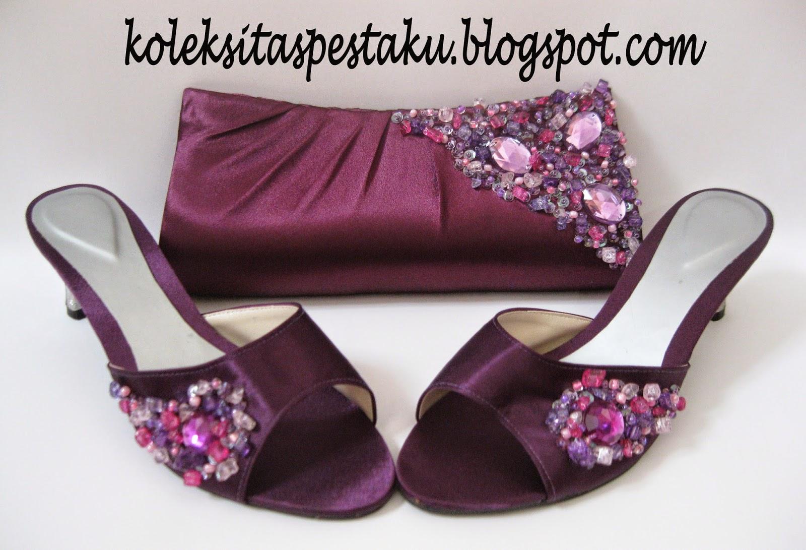 Sepatu dan Tas Pesta Purple Ungu Unik Terbaru
