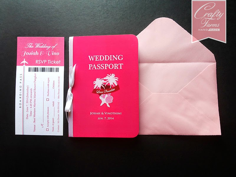 passport wedding card with boarding pass rsvp ticket set