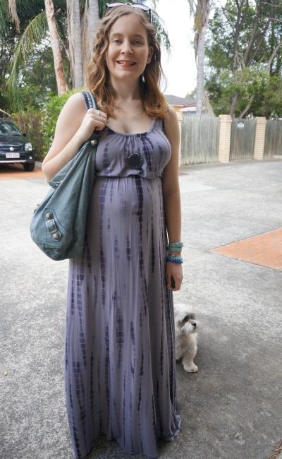 Away From Blue   Spring SAHM Outfit Jeanswest tie dye maxi dress Balenciaga hobo bag