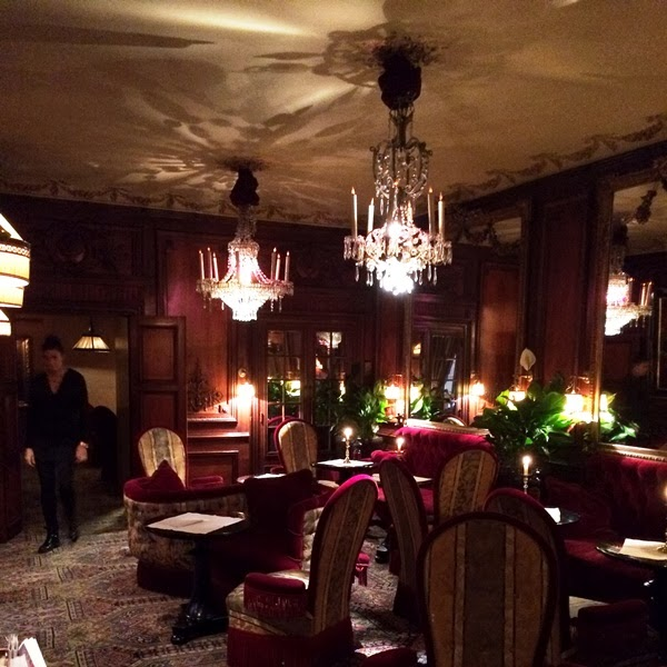 Velvet chairs at Hotel Costes in Paris