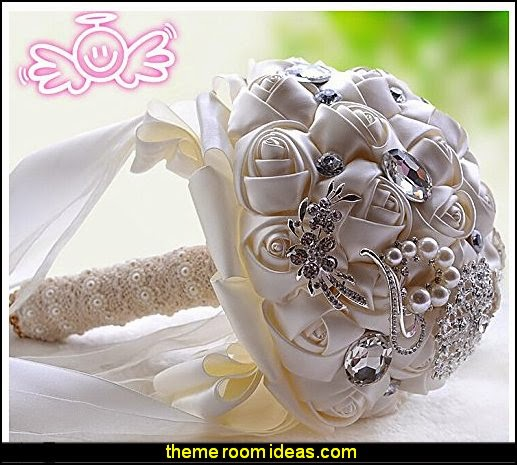 Wedding Bride Holding Bouquet Roses with Diamond Pearl Ribbon Valentine's Day