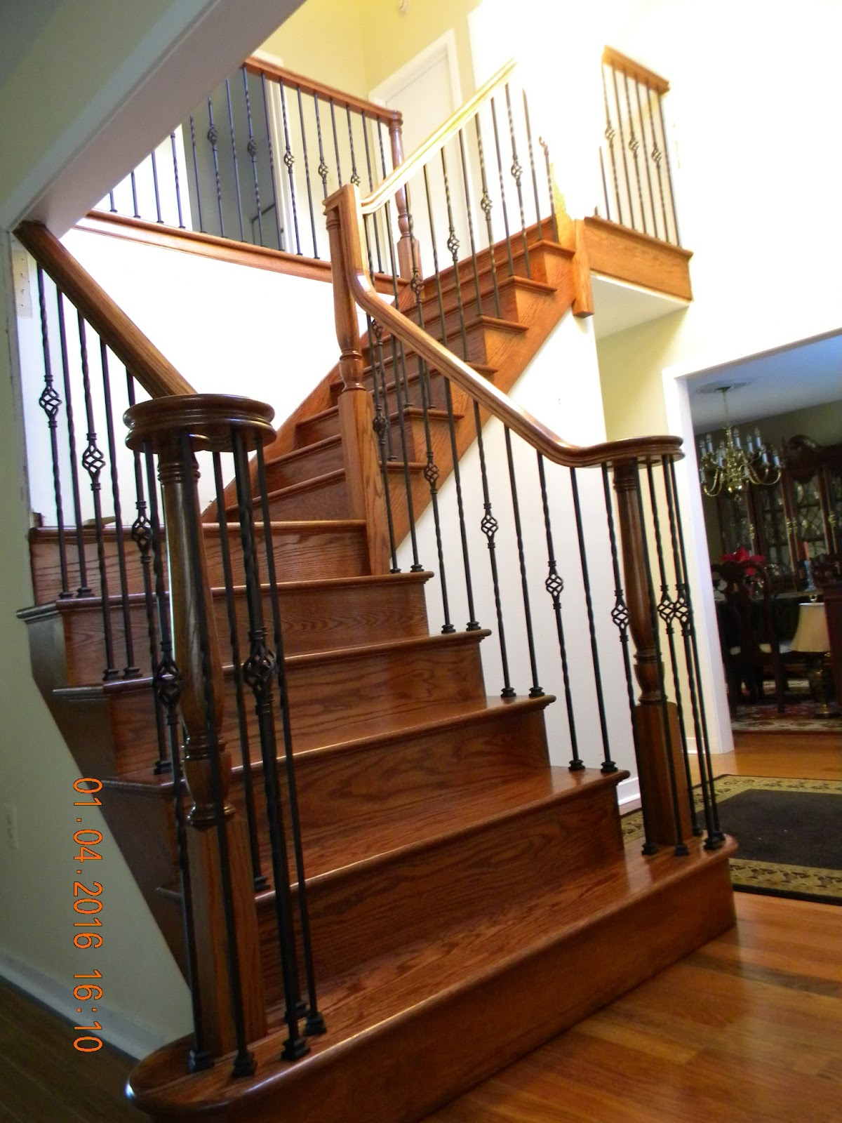 Wood Stairs And Rails And Iron Balusters Custom Stair