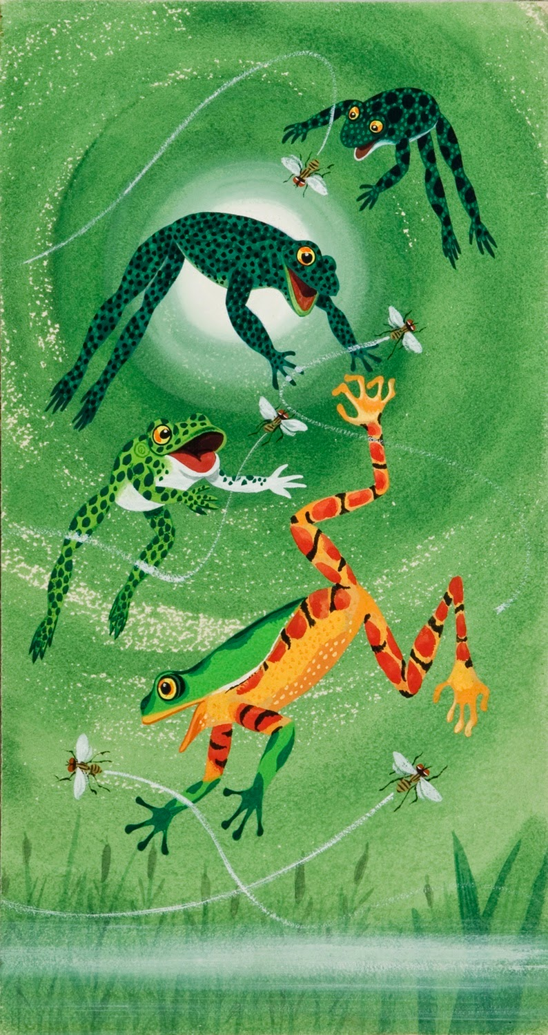 four different frogs swimming illustration by Richard Scarry