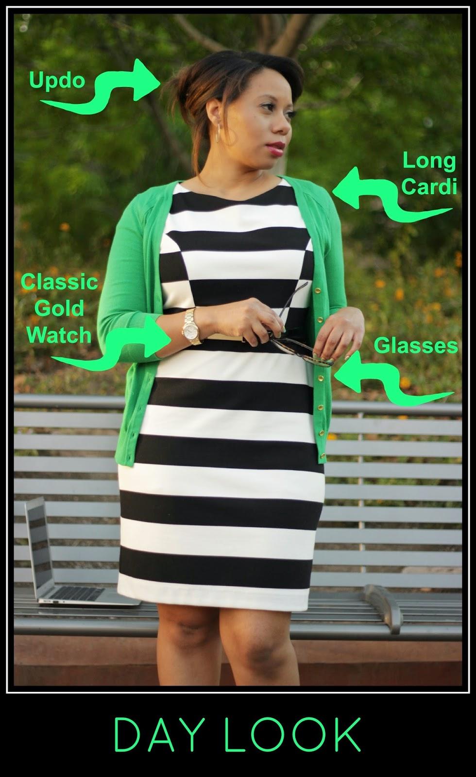 stripe dress & green cardi