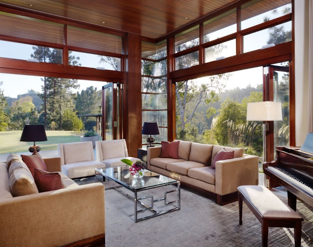 Contemporary living room in the Mandeville Canyon Residence