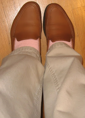 peach socks with loafers