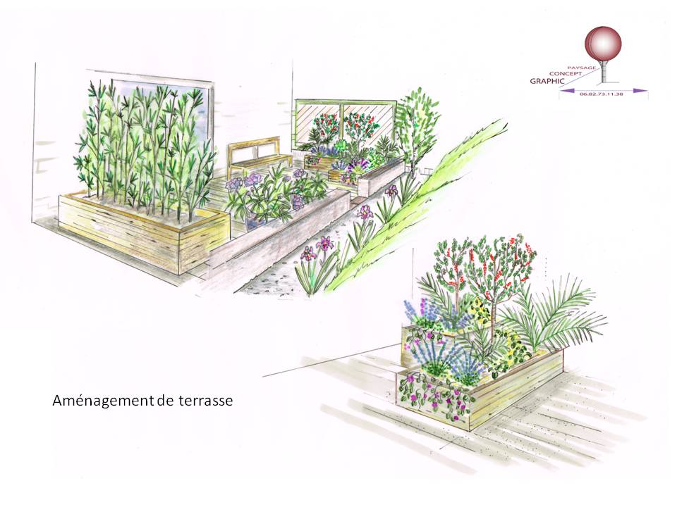 Graphisme graphic concept paysage for Perspective jardin 78