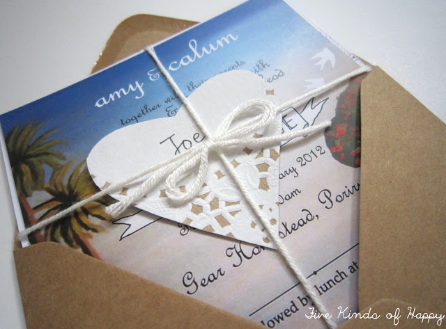 DIY wedding invite by Amy @ Five Kinds of Happy
