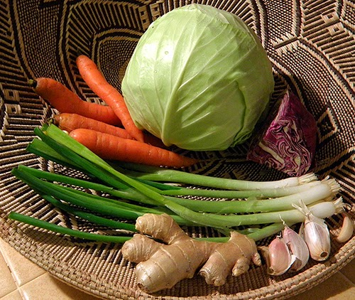 Basket of Cabbage, Carrots, Green Onion, Garlic and Ginger