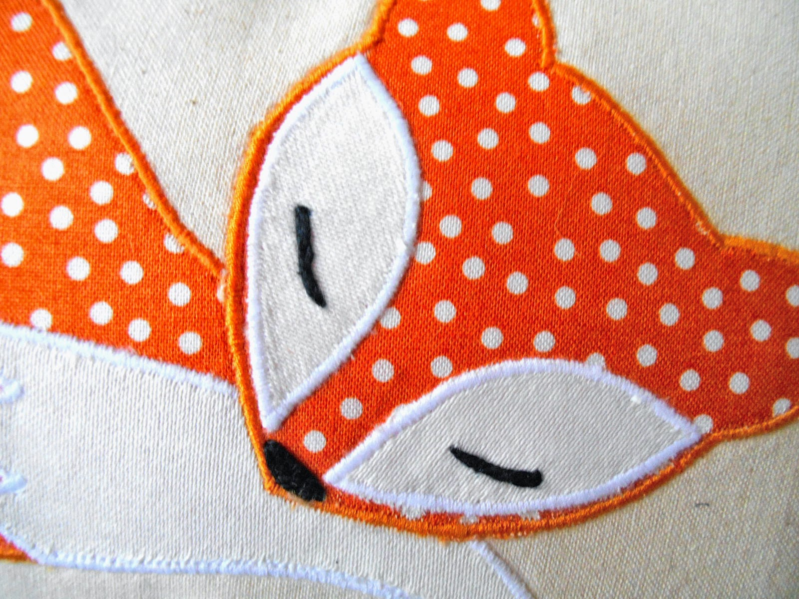 orange fox mini pillow applique design