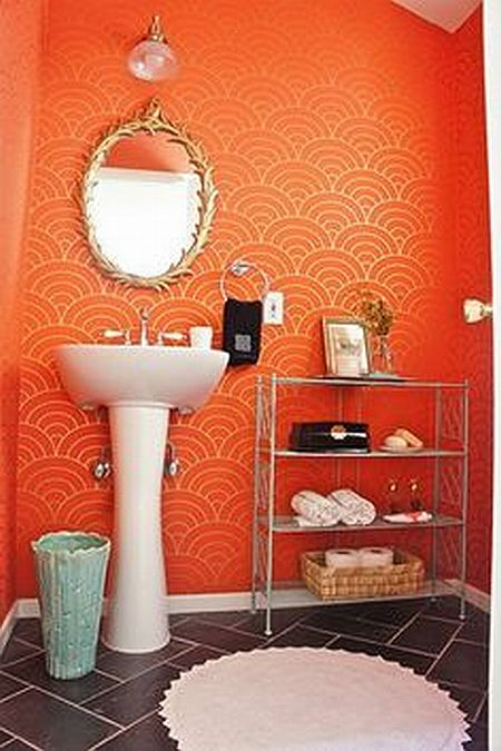 awesome orange wallpaper in bathroom