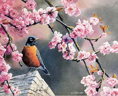 pinturas-de-pajaros-con-flores