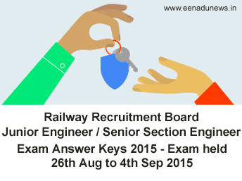Indian Railways RRB Junior Engineer Answer Key 2015, RRB Senior Section Engineer Exam Key 2015, RRB 3273 JE/SSE Online Exam Solved Key 2015, RRB JE SSE Online Exam Solved Question Papers in pdf, RRB Junior Engineer Key 2015, RRB SSE Key Official link