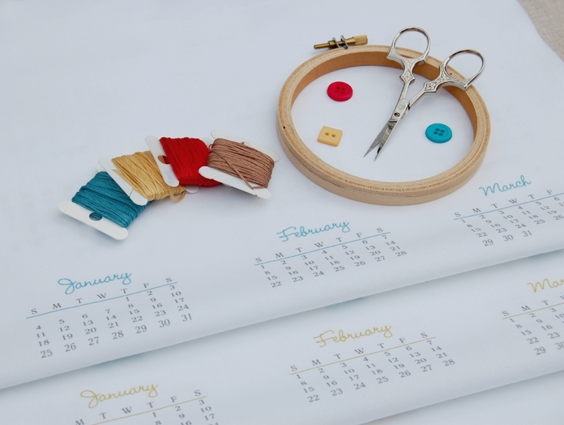 2015 calendar DIY fabric panel for embroidery