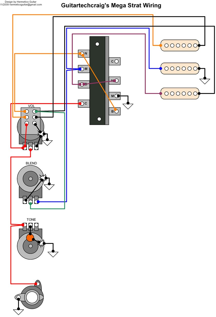 Wiring Diagram: Guitar Tech Craig's Mega Switch