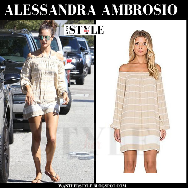 Alessandra Ambrosio in beige striped off shoulder mini dress faithfull the brand rambler what she wore models off duty
