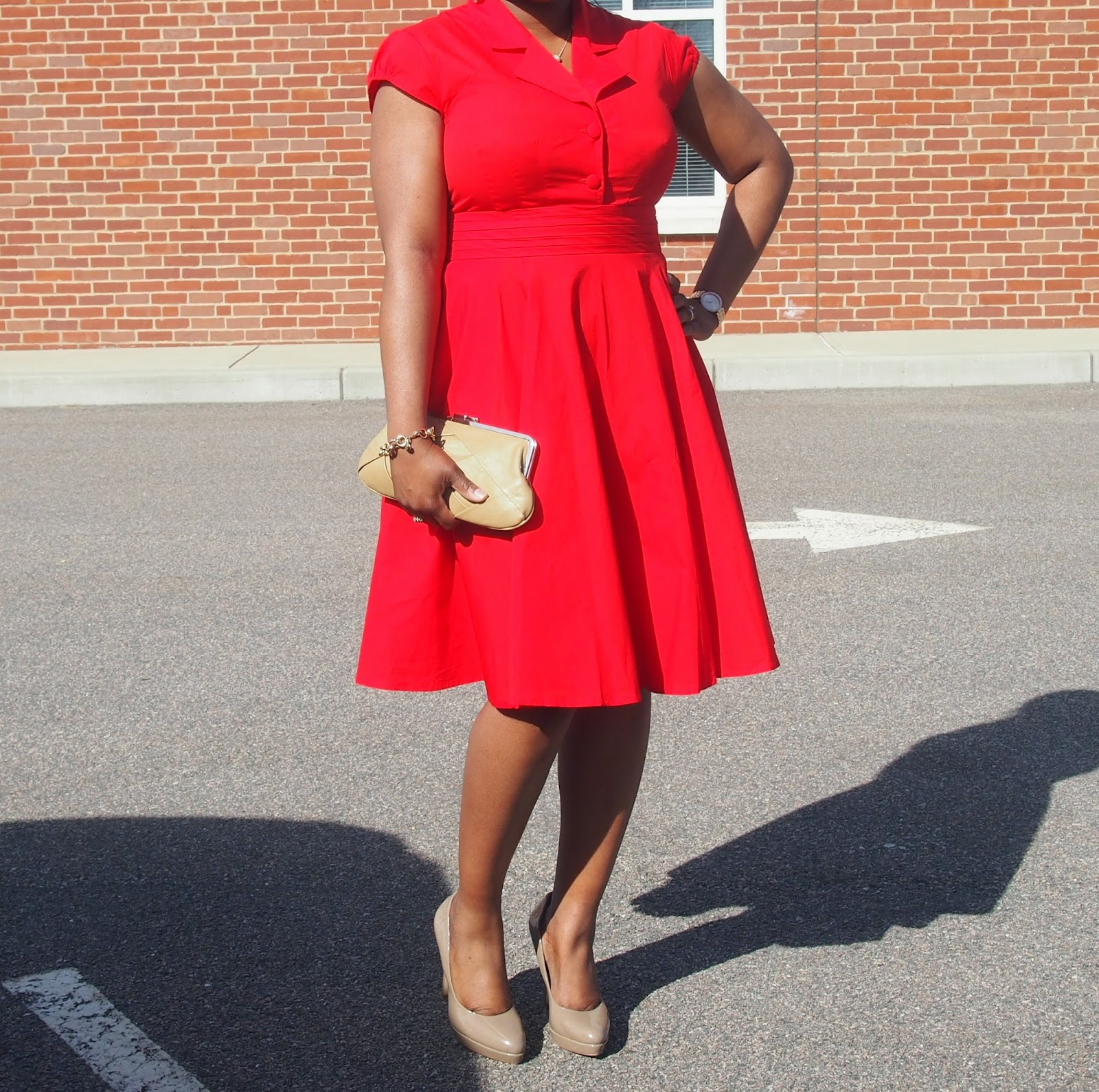 Vintage style fit and flare dress, color shoes to wear with red, nine west clutch nude