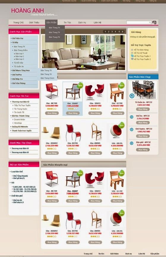 thiết kế web bán hàng bàn ghế giá rẻ