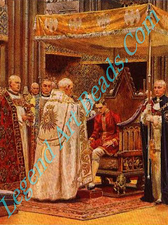 The ceremony of anointing at the coronation of George VI in 1937. The Ampulla is held by the Dean of Westminster while the Archbishop of Canterbury anoints the King on hands, breast and head.