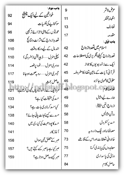 Contents of the book Shadi se shadio tak