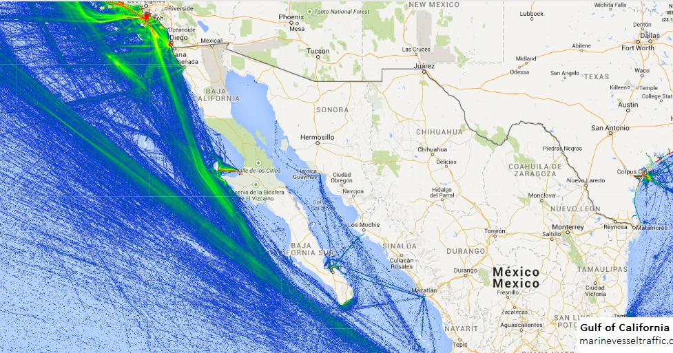 Gulf Of California Ship Traffic Tracker Marine Vessel Traffic