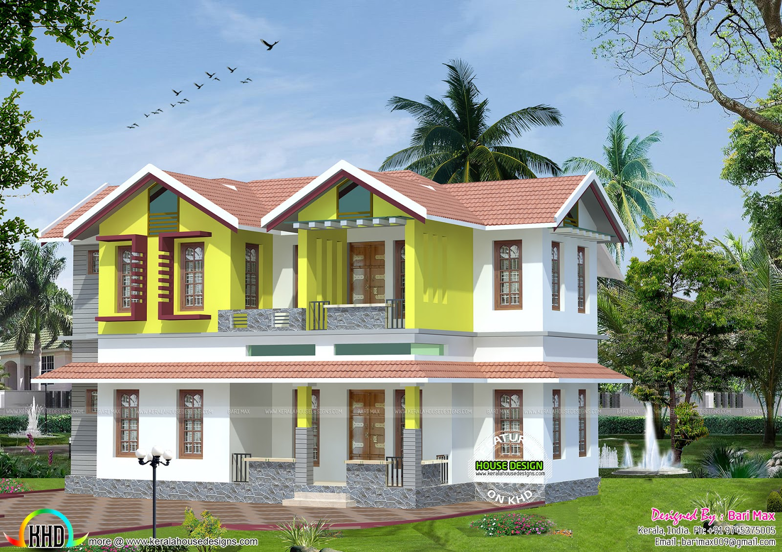 1475 sq ft low cost home kerala home design and floor plans for Low cost per square foot house plans