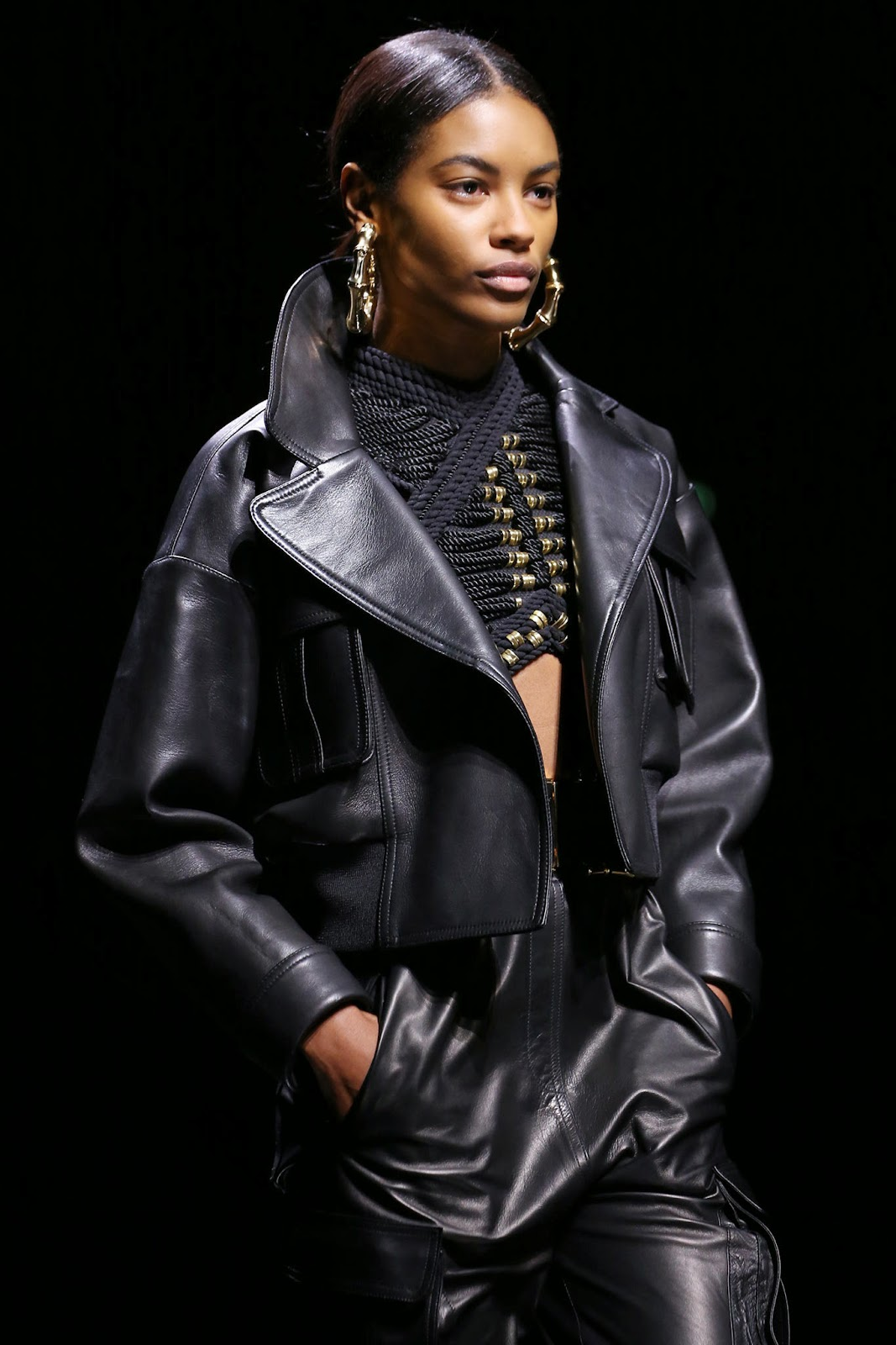 balmain fall 2015 leather