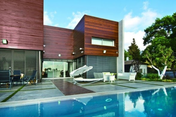 The modern design of concrete and wood by nestor house - Maison wooden concrete nestor sandbank ...