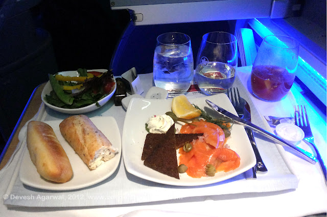 Air Canada Executive First trans-Altantic meal service.
