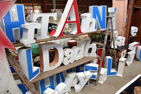 Large vintage decorative letters at the flea market