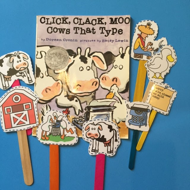 Cows That Type Puppet Sticks For Story Retelling Preschool Printables