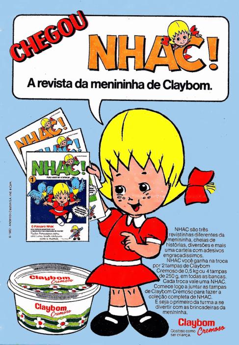 Propaganda da margarina Claybom com a clássica mascote, em 1982.