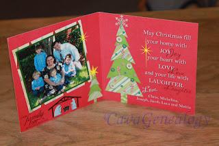 рождественская открытка с фамильным (родовым) деревом, разворот