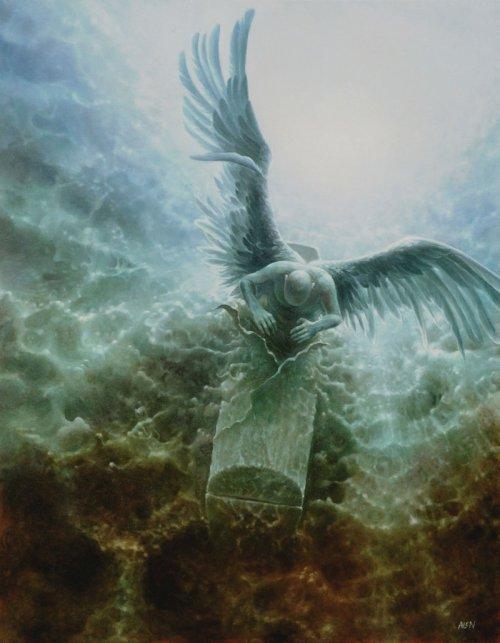tomasz alen kopera pinturas surreais natureza anjos sombrios pedra e fogo