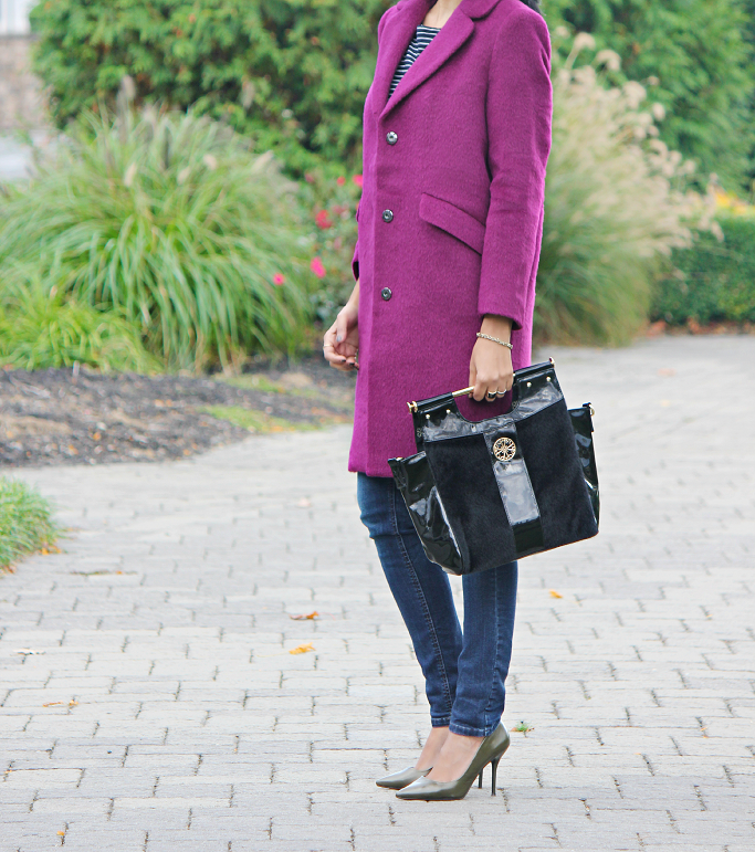 AVON Raising the bar tote, H&M Purple Coat, H&M Oversized Coat, Purple Wool Coat