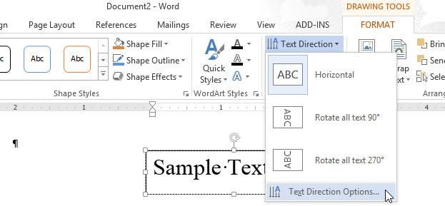 Cách thay đổi hướng của văn bản trong Word 2013 4