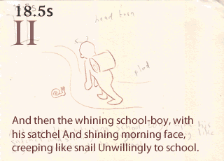 Storyboard: 18.5s, Act 2, schoolboy and snail.
