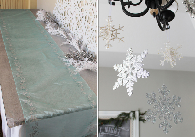 then we topped it with a runner that is actually an extra wide roll of sheer blue ribbon with silver glitter snowflakes
