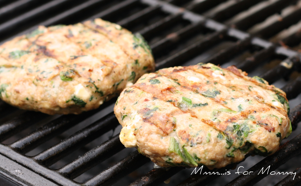 Grilled Spinach & Feta Chicken Burgers - Mmm... is for Mommy