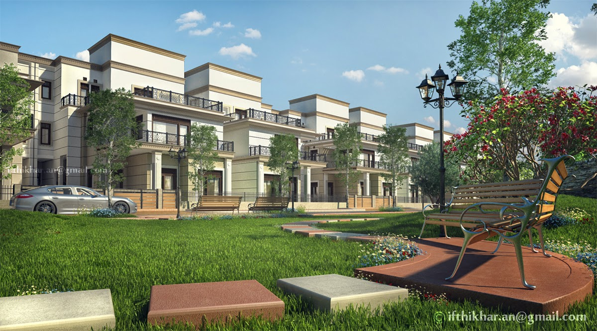 3d Exterior Landscape Visualization For A Group Housing Project Stare