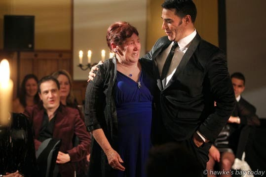 L-R: Pam O'Keefe, Flaxmere, a Happy Birthday from Phillips Rhodes, baritone, her foster son - U-Turn Italian Style, a concert and auction in The Mission Estate Chapel at Mission Estate Restaurant, Taradale, Napier, in support of U-Turn Trust and Te Aranga Marae, Flaxmere, Hastings photograph