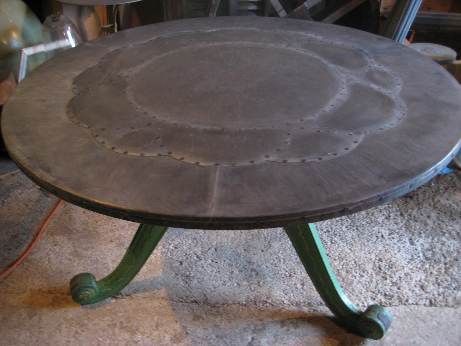 This Base For This Table Was Made From Three Old Cast Iron Elements Which I  Adapted With The Manufacture Of A Central U0027hubu0027. The Top Is Made In Three  ...